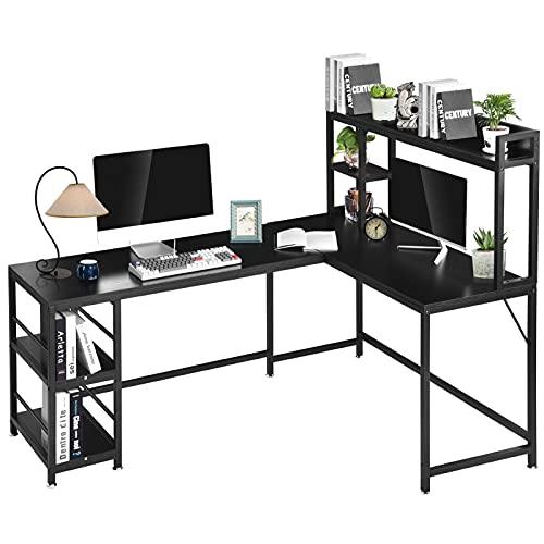 Escritorio de esquina en forma de L, 170 x 120 x 74 cm, mesa esquinera con compartimentos de almacenamiento, mesa grande para ordenador portátil y escritorio de madera, para juegos de oficina