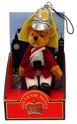 Teddy bear mobile phone charm bag charm London souvenir Guardsman by RSC
