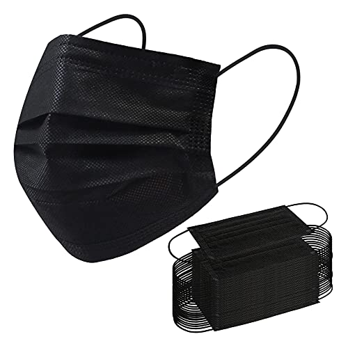 Disposable Face Mask, 100 PCS Black Masks, 3 Ply Protection Face Masks