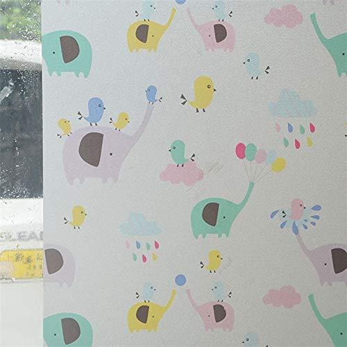 LMKJ Película de Vidrio Esmerilado electrostático de Dibujos Animados en Color película de protección Solar de baño Opaca de Seguridad película de decoración Familiar A34 40x100cm