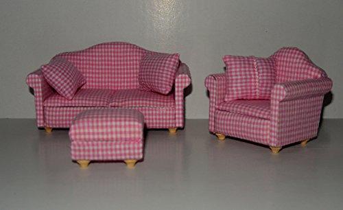 Couchgarnitur rosa Set 2 , 1:12 , Puppenstuben