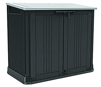 Keter Store-It-Out Prime 4.3 x 2.3 Foot Resin Outdoor Storage Shed with Easy Lift Hinges Perfect for Trash Cans Yard Tools and Pool Toys Black