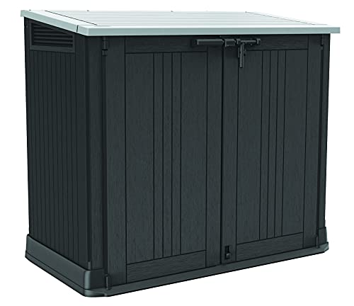 Keter Store-It-Out Prime 4.3 x 2.3 Foot Resin Outdoor Storage Shed with Easy Lift Hinges, Perfect for Trash Cans, Yard Tools, and Pool Toys, Black