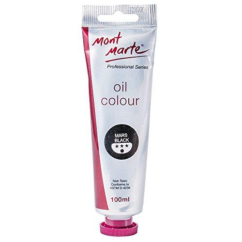 Mont Marte Premium Oil Paint, 100ml (3.4oz), Mars Black, Good Coverage, Excellent Tinting Strength