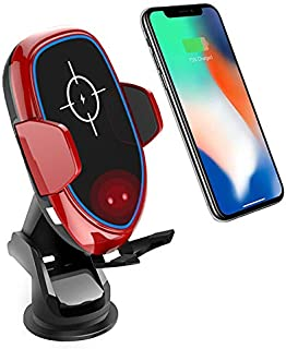 2019年最新 車載Qi ワイヤレス充電器 車載ホルダー スマホホルダー 車 スマホスタンド 携帯ホルダー 赤外線センサー自動開閉 TYPE-C 急速充電 360度回転 粘着式&吹き出し口2種類取り付 iPhone/Androidワイヤレス充電機種に対応 (レッド)