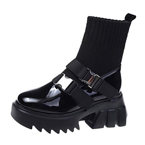 Aupast Botines Mujer Combat Boots Botas de Tobillo para Mujer Piel, Combate con Punta Redonda Botine Plataforma Otoño Invierno Vintage Botines Botas Moda para Mujer - Negro Vintage Botines