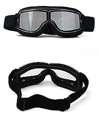 HONCENMAX Vintage Goggles Sports Sunglasses Helmet Steampunk Eyewear for Outdoor Motocross Racer Motorcycle Goggles Retro - Black Frame Sliver Lens #3