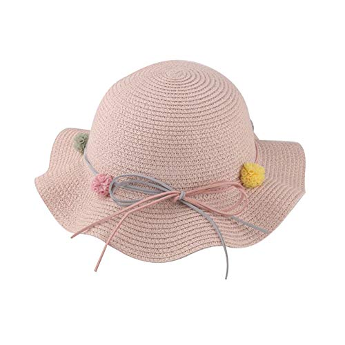 CLSMYLFB Straw Hat 2-7 Years Old Pink Sun Hat Children Straw Hat Summer Sunscreen Cute Princess Girls Handmade Beach Hats Female Fisherman Cap