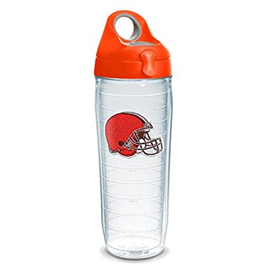 Tervis 1230786 NFL Cleveland Browns Primary Logo Tumbler with Emblem and Orange Lid 24oz Water Bottle, Clear