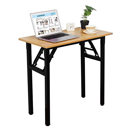 Need Small Desk 40cm Width Folding Desk No Assembly Required Sturdy and Heavy Duty Desk for Small Space and Laptop Desk Damage Free Deliver(Teak Color Desktop & Black Steel Frame) AC5BB-P2(8040)