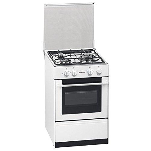 Meireles G 1530 DV W NAT - Cocina (Cocina independiente, Blanco, Giratorio, Acero inoxidable, Parte superior delantera, Esmalte)