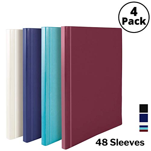 Dunwell Binders with Plastic Sleeves (Assorted 4 Colors, 4 Pack), 48-Pocket Bound Presentation Books with Clear Sleeves, Displays 96 Pages of 8.5x11 Inch Letter Size Inserts, Sheet Protector Binders