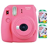 Fujifilm Instax Mini 9 Instant Camera (Flamingo Pink) with 2 x Instant Twin Film Pack (40 Exposures)