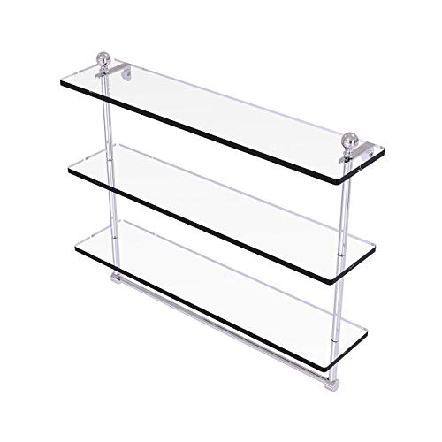 Allied Brass MA-5/22TB Mambo Collection 22 Inch Triple Tiered Integrated Towel Bar Glass Shelf, Polished Chrome