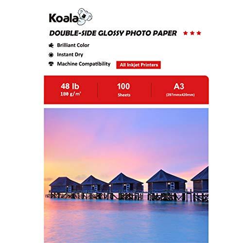 KOALA Carta fotografica Lucida Fronte-Retro per stampante a Getto d'inchiostro, A3, 180 g/m², 100 fogli. Adatto per la stampa di Foto, Brochure, Certificati, Opuscoli, Volantini, Biglietti, Calendari
