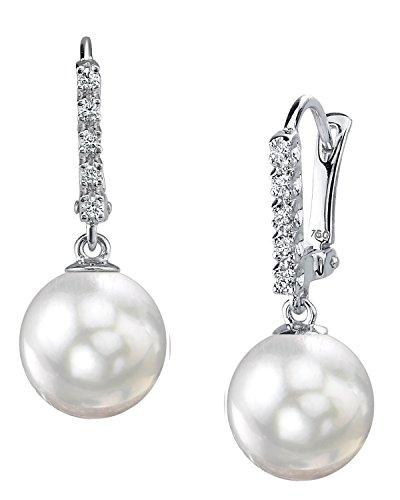 18 K oro blanco perla cultivada del Mar del Sur pendientes de Britney