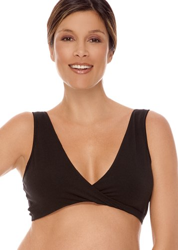 Lamaze Women's Cotton Spandex Sleep Bra for Nursing and Maternity, Black, Medium