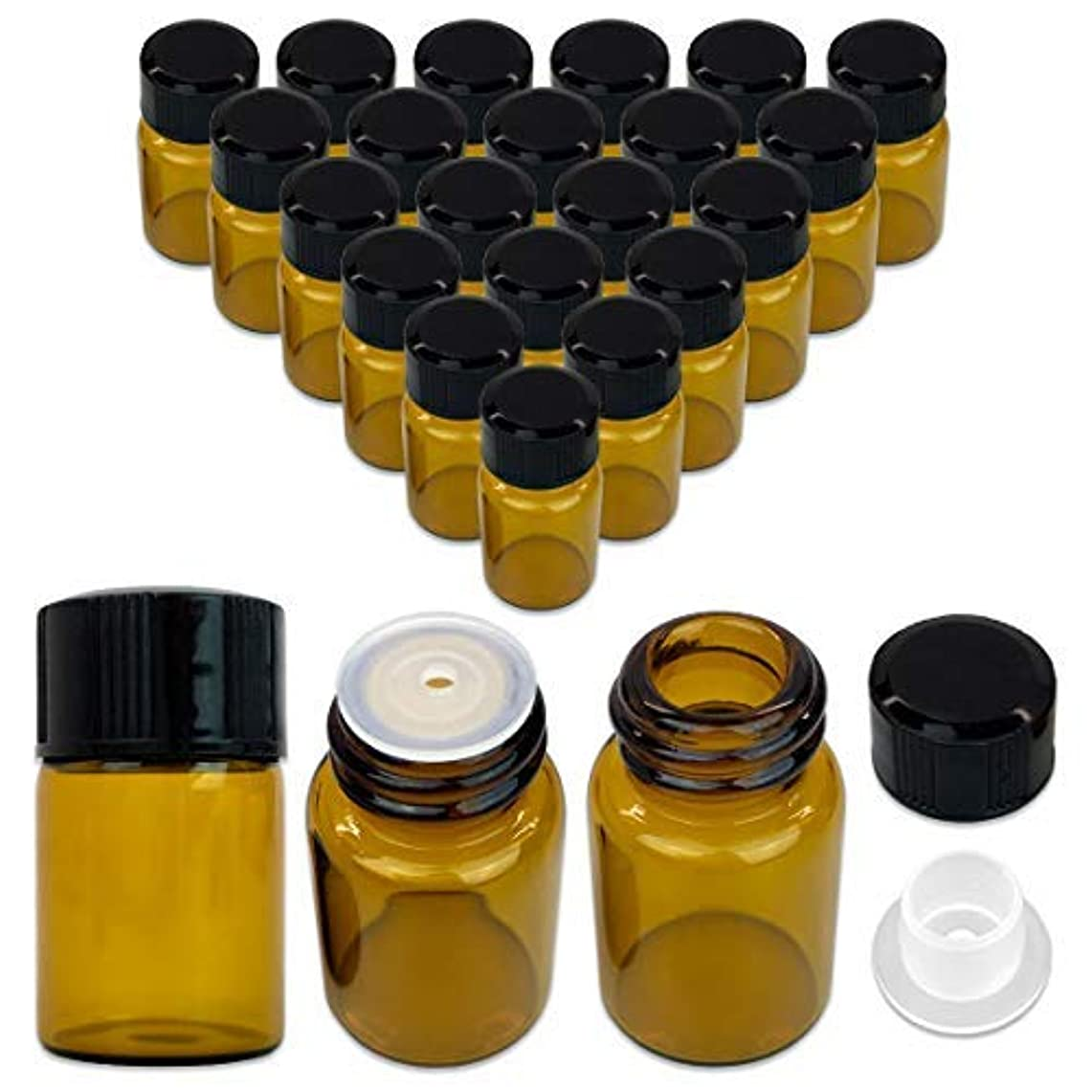 ボウリング洞察力行進24 Packs Beauticom 2ML Amber Glass Vial for Essential Oils, Aromatherapy, Fragrance, Serums, Spritzes, with Orifice Reducer and Dropper Top [並行輸入品]