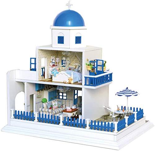 Casa de muñecas en miniatura 3D Muebles de bricolaje LED Habitación creativa Casa de costura manual Estilo mediterráneo Caja de música Cabaña romántica Montaje de juguetes Simulación Regalos