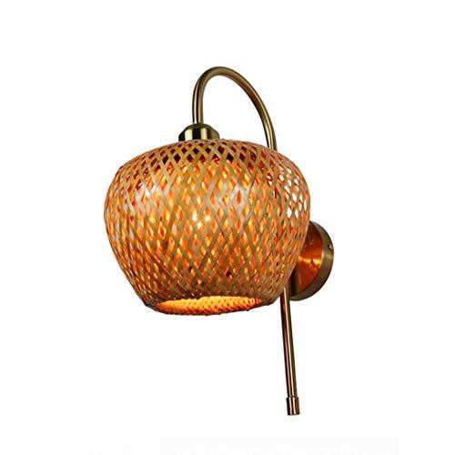 ZZXX Aplique de Pared de bambú Natural Pantalla de ratán lámpara de...