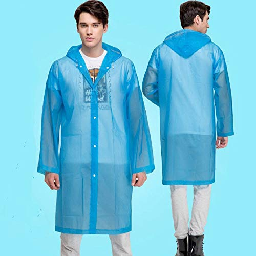 Raincoat Les Hommes et Les Femmes Raincoat Pluie qualité Couverture imperméable avec Capuche Poncho Manteau Transparent Imperméables Capes imperméables (Color : Blue, Size : One Size)
