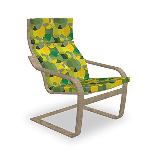 Ambesonne Geometric Armchair Pad and Slipcover, Modern Design of Natural Abstract Circles, 1 Piece Soft Cushion Replacement with Removable Cover, Green Mustard