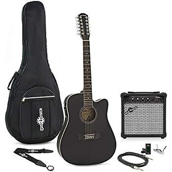 Guitarra Electroacustica Dreadnought de 12 Cuerdas + Pack de Ampli - Negro: Amazon.es: Instrumentos musicales
