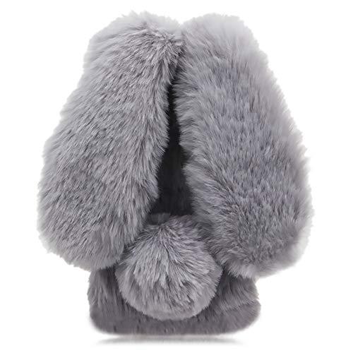 3D Hasenohren Plüsch Hülle für Samsung Galaxy A21s,DasKAn Winter Warm Weiche Kaninchen Flauschig Fell Handy Tasche Bling Strass Design Stoßfest Silikon Rückseite Schutzhülle,Grau