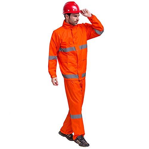 QPYJ Abrigos Impermeables Impermeable Pantalones de Lluvia Traje Impermeable Moto Chaqueta de Lluvia Traje de Lluvia-Set Naranja_XXL