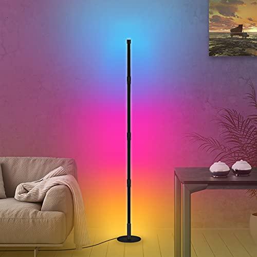 GORIFEI 177CM LED Stehlampe Dimmbar/ herausnehmbar mit Fernbedienung Farbwechsel Lichtsaeule , 20W Modern RGB Farbwechsel Schwarz Stehleuchte für Wohnzimmer, Schlafzimmer