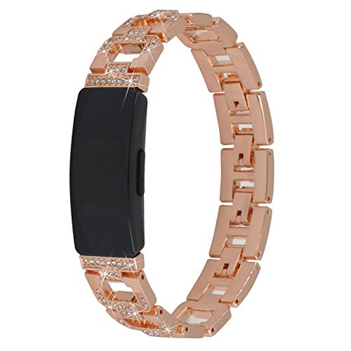 TechCode Inspire HR Jewelry Band Adjustable Stainless Steel Bling Band Replacement Diamond Crystal Metal Wrist Strap Bracelet Accessories for Fitbit Inspire/Inspire HR/ Ace2 (D01)