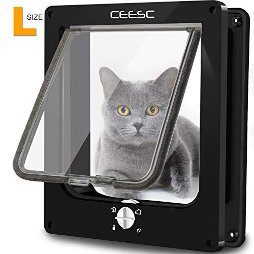 CEESC Große Katzenklappe, magnetische Haustiertür mit 4-Wege-Drehverschluss für kleine Hunde und Katzen, Aktualisierte Version(L,schwarz)