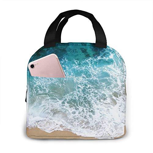 N\A Hermosa Ocean Waves Impreso Portátil Almuerzo Bolsa De Almuerzo Bolsa De Almuerzo Enfriador Aislado Bolsa Térmica Reutilizable Bolsos De Mano para Mujer Trabajo Picnic O Viaje Fiambrera