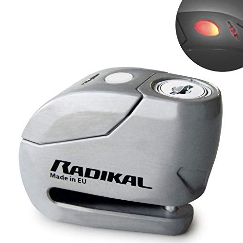 Radikal RK9Z Candado Antirrobo Moto Disco Alarma 120 dB + Warning, ø6, Fabricado en Europa, INOX, 6