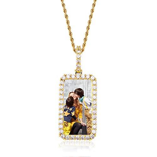 Foto Personalizada Hip Hop Colgante Collar Charm Cobre Collar Personalizado Día De La Madre Cumpleaños Aniversario Cool Collar para Mujeres Hombres(Oro-Rectángulo-14)