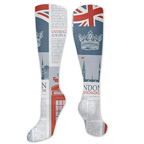 JONINOT Manga de compresin de rodilla de 60 cm / 23,6 pulgadas, monumentos y banderas temticos de Londres Reino Unido, medias deportivas altas