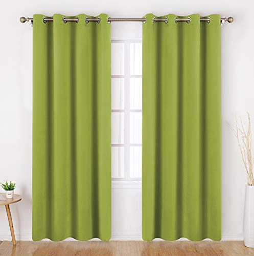 HOMEIDEAS Fresh Green Blackout Curtains 52 X 84 Inch Long Set of 2 Panels Room Darkening Bedroom Curtains, Thermal Grommet Light Bolcking Window Curtains for Living Room for Christmas