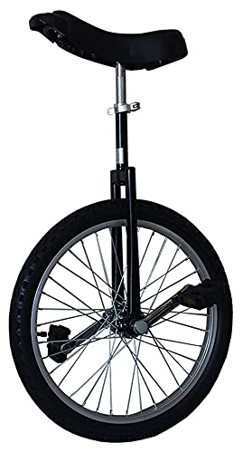 Unicycles para niños Adultos, 16/18/20/24 Pulgadas Rueda con llanta de aleación llanta Extra Gruesa para Deportes al Aire Libre Ejercicio de Ejercicio Saludable, Negro (Size : 20)