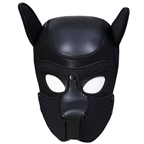 BANSSGOTH Frauen Punk Karneval Pu Leder Maske Kopfschmuck Hund Kopfgeschirr Neutral Requisiten Fetisch KopfbedeckungHundekopfgürtel Maske spielt Rolle (Schwarz A)