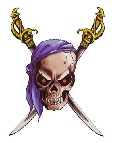 Horror-Shop Tattoo Pirate avec Bandana et Sabres
