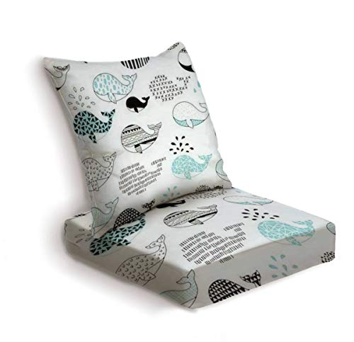 ONENPENRI 2-Piece Outdoor Deep Seat Cushion Set Cute Hand Drawn Seamless Pattern with Whale Back Seat Lounge Chair Conversation Cushion for Patio Furniture Replacement Seating Cushion