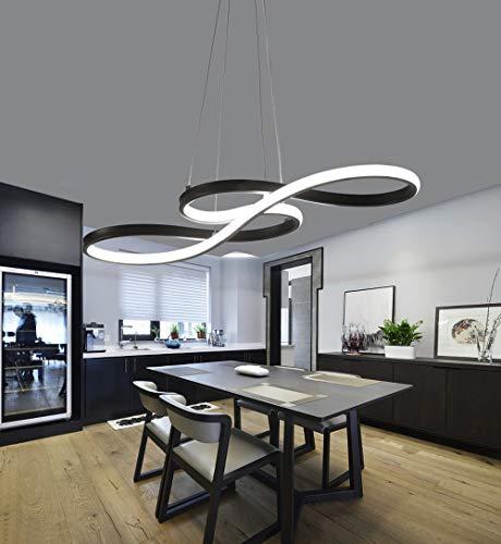 Salle à manger Dimmable LED Suspension Moderne Moderne Conception Rectangulaire Suspension avec Télécommande Lustre Minimaliste Chambre Bureau Fer Acrylique Lampe L75cm,Black
