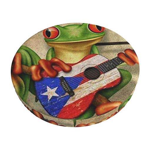 ICOMON 12' 13' 14in Padded Puerto Rico Flag Frog Round Bar Stool Cover Cushion with Elastic Fabric Round Chair Seat Cushion for Wooden Metal Stools