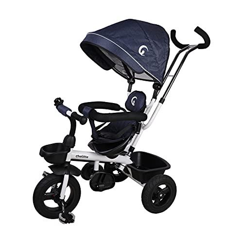 chelitte 三輪車 回転式 一台四役 幼児用トライク 9ヶ月から6歳まで使える ノーパンクタイヤ 手押し棒付き サンシェード お出かけ 乗用玩具 プレゼントに最適 ブルー
