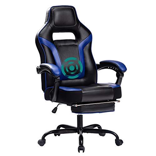 Wolmics Rückenmassage Gaming Stuhl mit Fußstütze,PC Computer Videospiel Racing Stuhl Hohe Rückenlehne Reclining Executive Ergonomic Office Desk Stuhl mit Kopfstütze Lordosenstütze Kissen (BL)