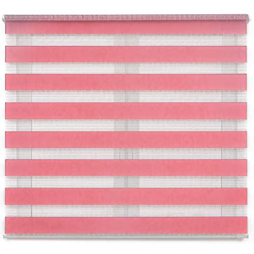 Dalina Textil Estor Enrollable de Doble Capa Noche y Día (Rosa, 100x180cm)