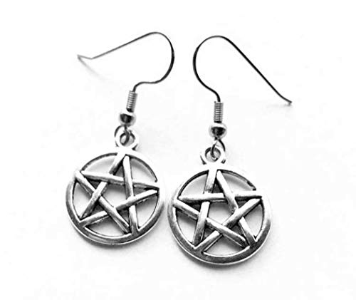 Silver Plate Pentagram Amulet Earrings (Pair) Occult Pagan Wicca Witchcraft. Superb Value.