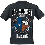 Gas Monkey Garage Texas Flag Hombre Camiseta Negro XL, 100% algodón, Regular