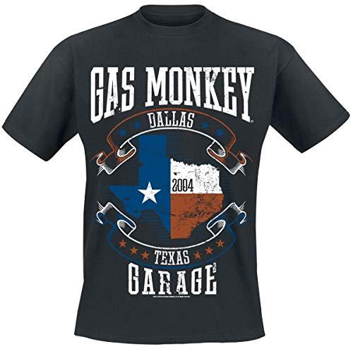 Gas Monkey Garage Texas Flag Uomo T-Shirt Nero 5XL 100% Cotone Regular
