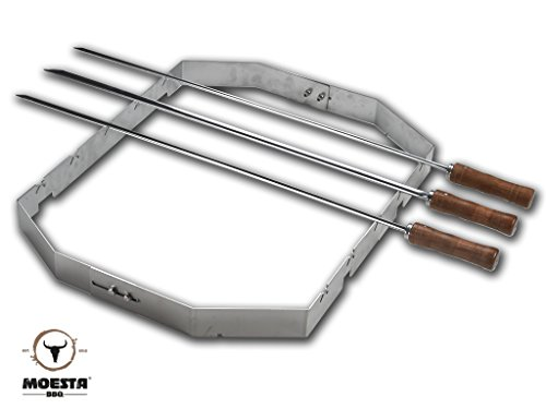 Moesta-BBQ 10249 Churrasco'BBQ Set für Smokin' PizzaRing (für 57cm PizzaRing) Grill-Spieße auf jedem Kugel-Grill